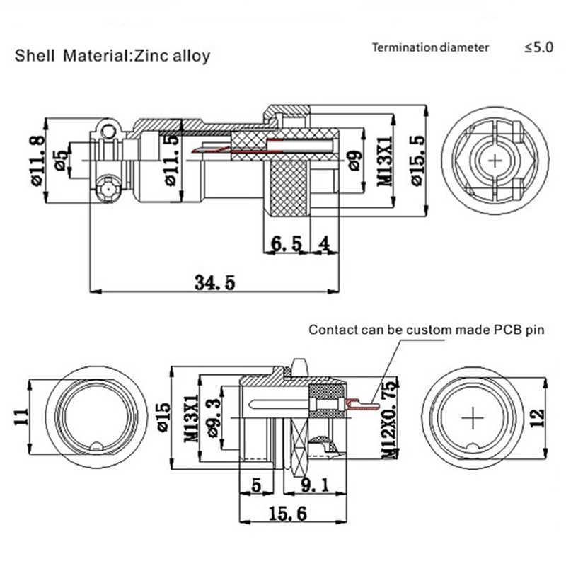 """1 ชุด 7/16 """"GX12 2 3 4 5 6 7 PIN ชายหญิง 12 มม.M12 ลวด L91 GX12 Circular Connector การบินปลั๊ก DF12 M12"""