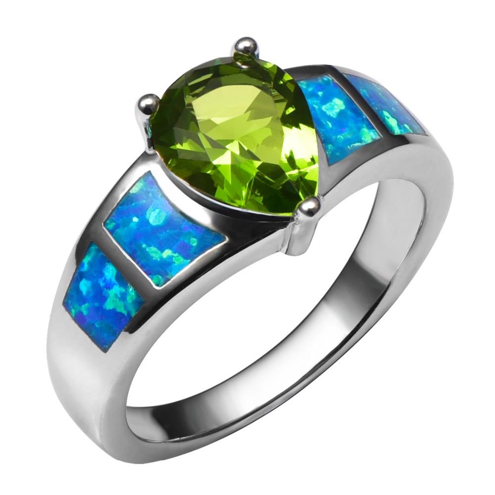Blue Fire Opal S Peridot 925 Sterling Silver Ring Krásný šperky - Bižuterie