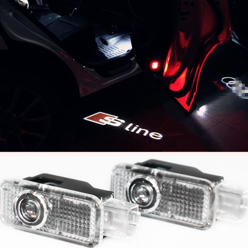 2pcs Car LED Ghost Laser Logo Projector Door Welcome Light For Audi A4 A3 A1 R8 TT Q7 Q5 Q3 C6 C5 B5 B6 A8 A7 A5 A6 S LINE SLINE