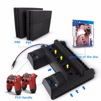 1 PC Black 5V Vertical Stand Dual USB Charger Cooling Dock Fans For Pro Console PS4 Slim PS4