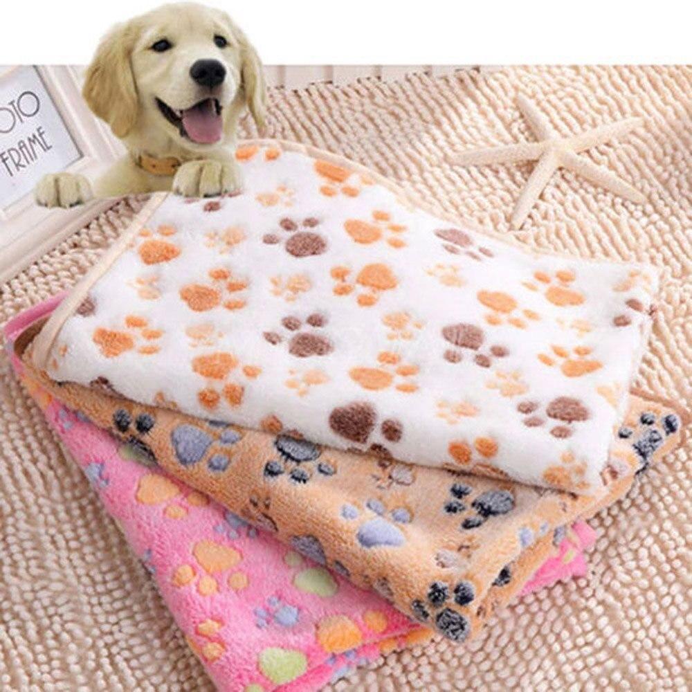 Comfortable Pet Bed Mats Sleep Flora Paw Print Dog Cat Puppy Fleece Soft Blanket Pet Dog Beds Mat For Pet Cat Small Dog Supplies (4)