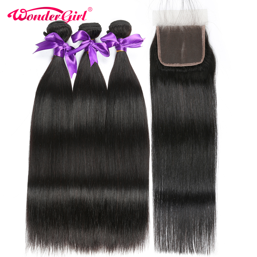 Indian Straight Hair 3 Bundles With Closure 100% Human Hair Bundles With Closure Wonder girl Remy Hair Extension No Shedding
