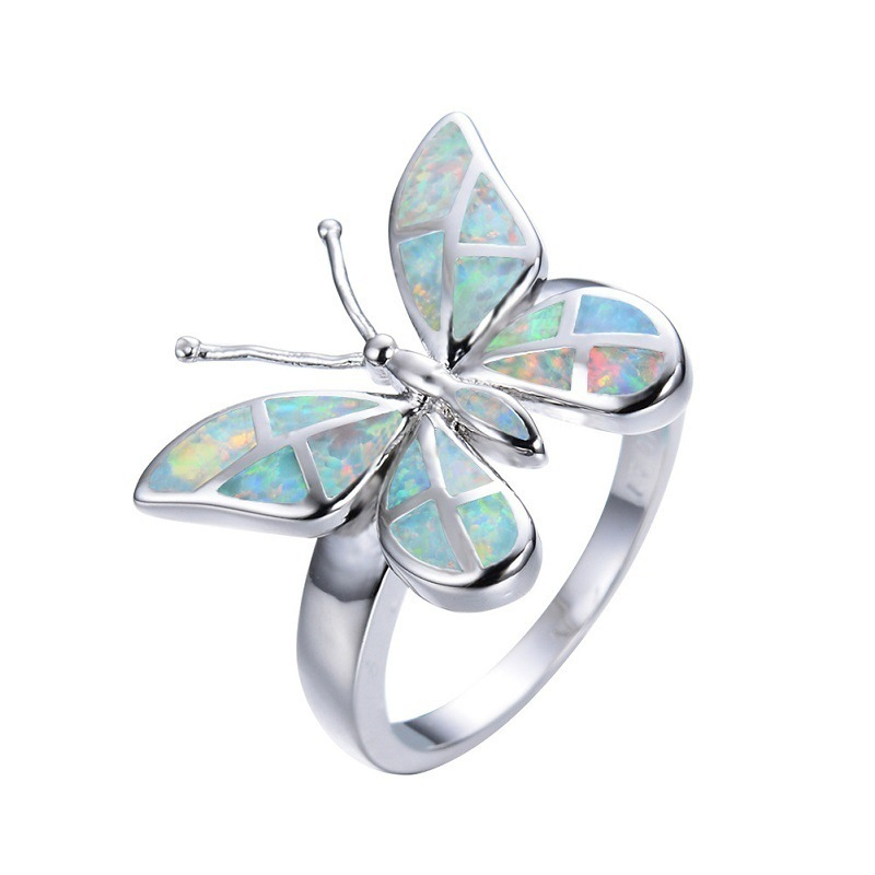 Finger-Ring Jewelry Silver-Filled Fire-Opal Rainbow White Women Crystal Vintage Insect