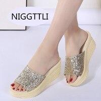 Women Mules Clog Shoes Leather Slip On Peep Toe Ladies Cork Wedge Sandals Female Platform Sandals
