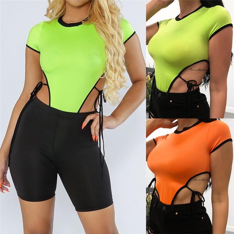 Hirigin 2020 Sexy Women Bandage Bodysuit Stretch Leotard Short Sleeve Tops T-shirt Hollow Out Lace-up Bodycon Clubwear Bodysuit