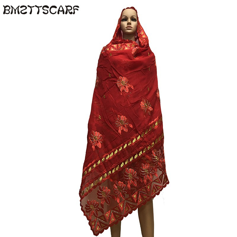 African Scarfs Muslim Women Soft Cotton match Net Embroidery Big Size   Scarf   for   Wraps   Shawls BM660
