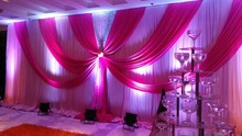 White Wedding Background curtain with rose swags stage backdrop 3m*6m wedding decoration