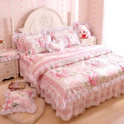Romantic Flower Print Bedding Set Floral Bed Set Princess Lace Ruffle Duvet Cover King Queen Twin