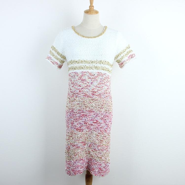 2018 summer new button Slim stretch bag hip knit dress color gold line short sleeve dress female