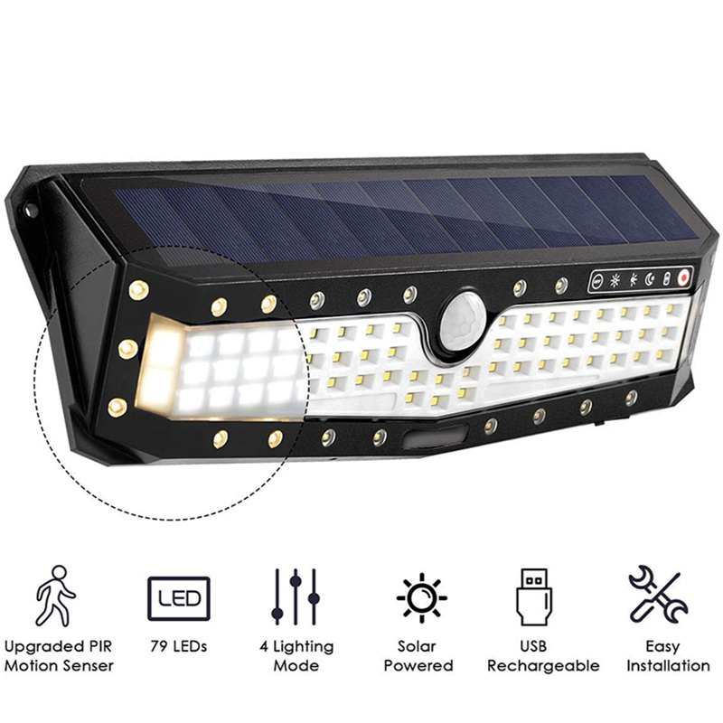 79 LED Solar Garden Wall Light Lamp Outdoor USB IP65 Waterproof 4 Modes Human Induction Wide Angle Luz Solar Led Para Exterior79 LED Solar Garden Wall Light Lamp Outdoor USB IP65 Waterproof 4 Modes Human Induction Wide Angle Luz Solar Led Para Exterior