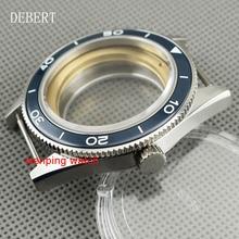 DEBERT 41mm Keramische bezel Business watch case fit Miyota 8205/8215, ETA 2836 DG2813/3804 automatische mechanische beweging