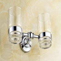 Bathroom Accessories Polished Chrome Brass Bath Wall Mounted Bathroom Toothbrush Holder Set Double Glass Cups