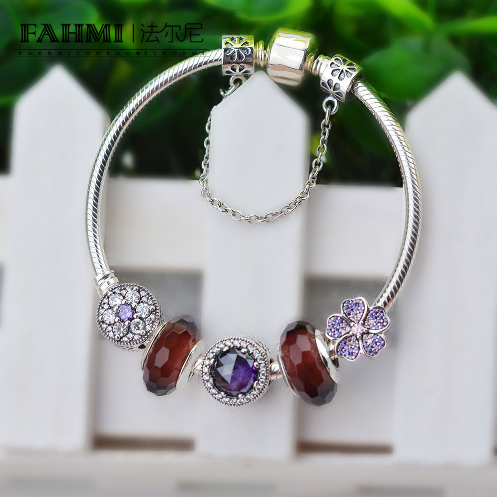 FAHMI Adjustable 100% 925 Sterling Silver Bangles &Charm Bracelet For Women With Charm Beads Luxury Original Jewelry GiftFAHMI Adjustable 100% 925 Sterling Silver Bangles &Charm Bracelet For Women With Charm Beads Luxury Original Jewelry Gift
