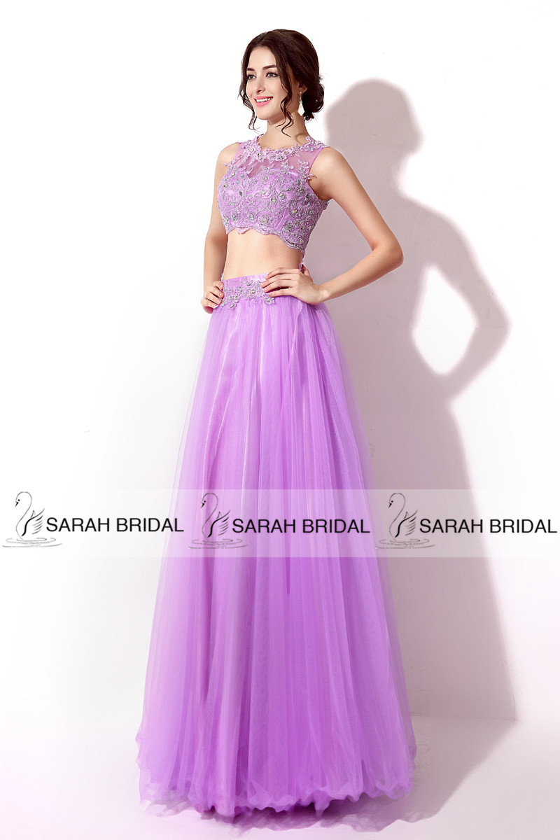In Stock Long Sexy Two Pieces Prom Dresses Beaded Lavender Special