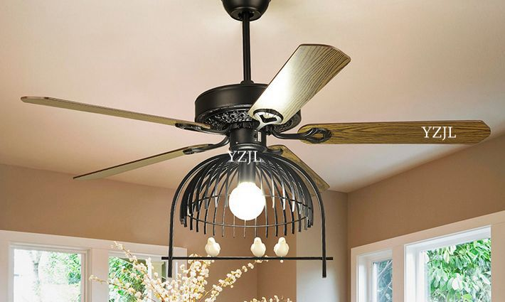 Modern American Living Room Dining Fan Chandelier Lights Antique Iron Library Cage Led