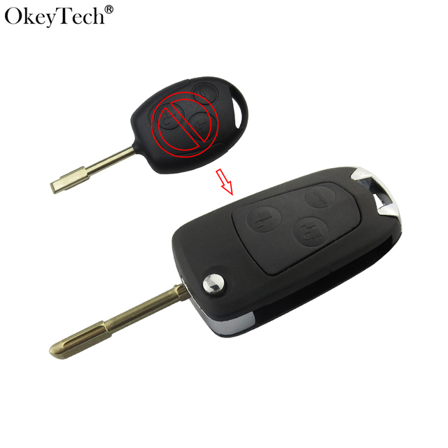 Okeytech Remote Flip Folding Modified Car Key Shell  Buttons Replacement Case Fob For Ford Mondeo