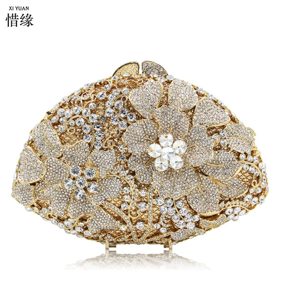 XIYUAN BRAND New Fashion Women's Bridal Shoulder Clutch Bag Bling Rhinestone Chain Evening Handbag Purse for Valentine's Day 2017 120cm diy metal purse chain strap handle bag accessories shoulder crossbody bag handbag replacement fashion long chains new