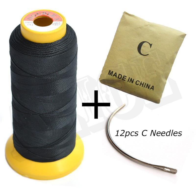 1pc črni poliestrski nit za tkanje in 12p C igle za šivanje las
