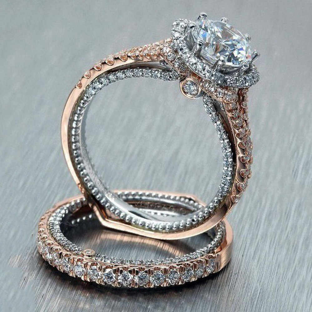 Vintage Rose แหวนทองแหวนงานแต่งงานเจ้าสาวเครื่องประดับประณีตเครื่องประดับ Anillos Flawless Gorgeous Trinket Aneis