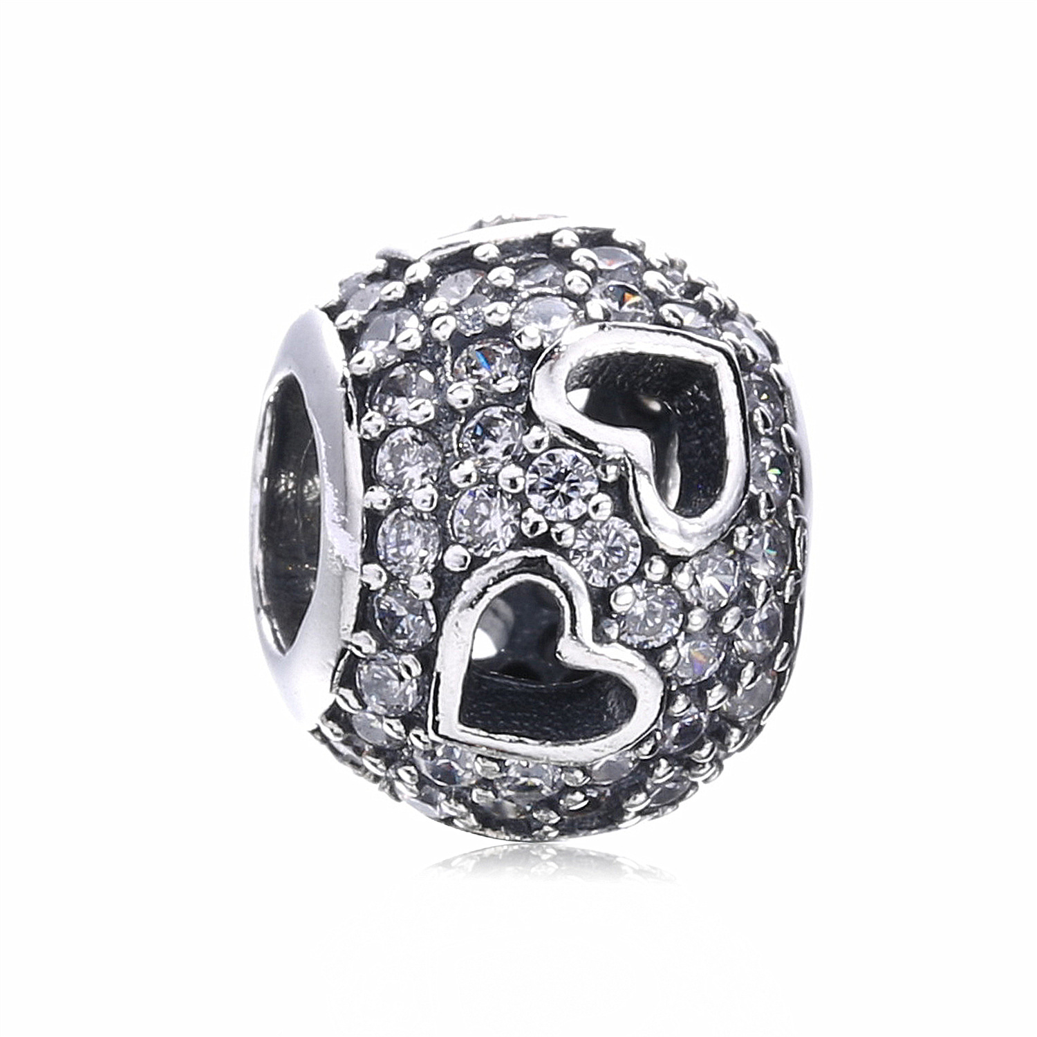 Authentic 925 Sterling Silver Love Heart Beads Charm Fit Original Pandora Charms Bracelets & Bangles Necklace Women DIY Jewelry