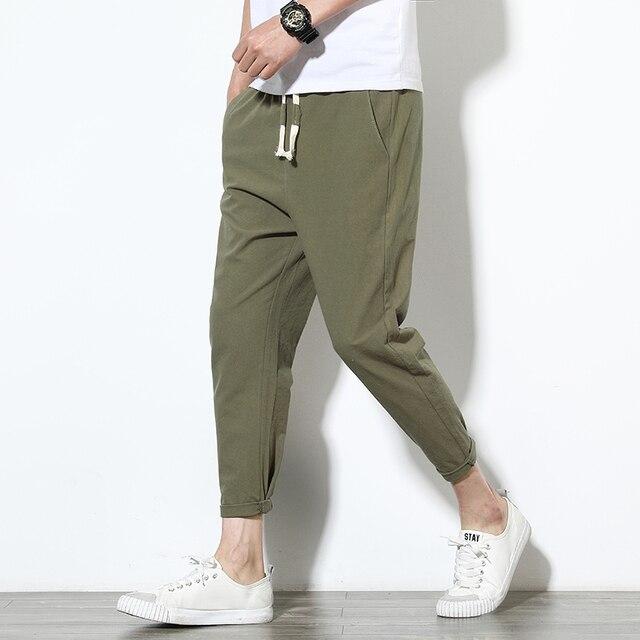 2020 Men Pure Cotton Sportswear Pants Casual Fitness 8 Color Workout Pants Skinny Sweatpants Trousers Big Size Jogger PantsM-5XL 4