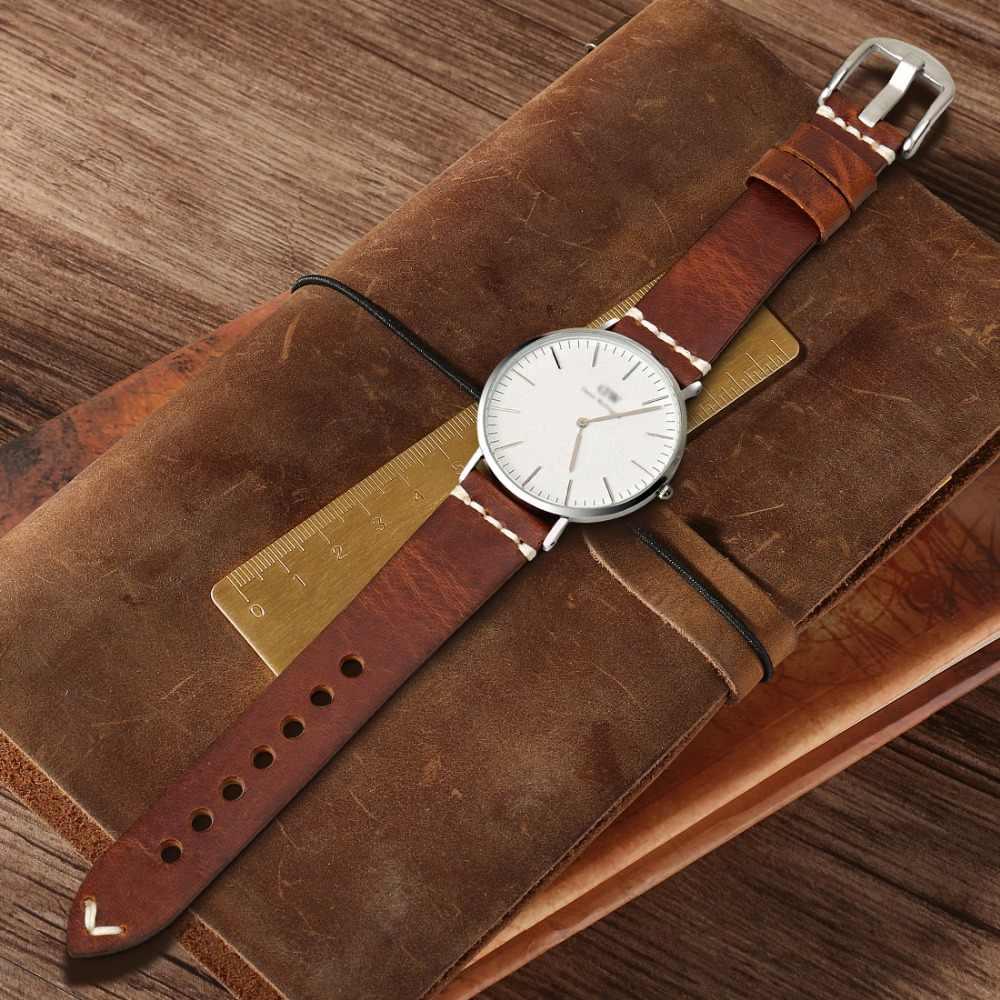 MAIKES שעון אביזרי פרה עור רצועת שעון צמיד חום בציר שעון להקת 20mm 22mm 24mm רצועת השעון עבור מאובנים שעון