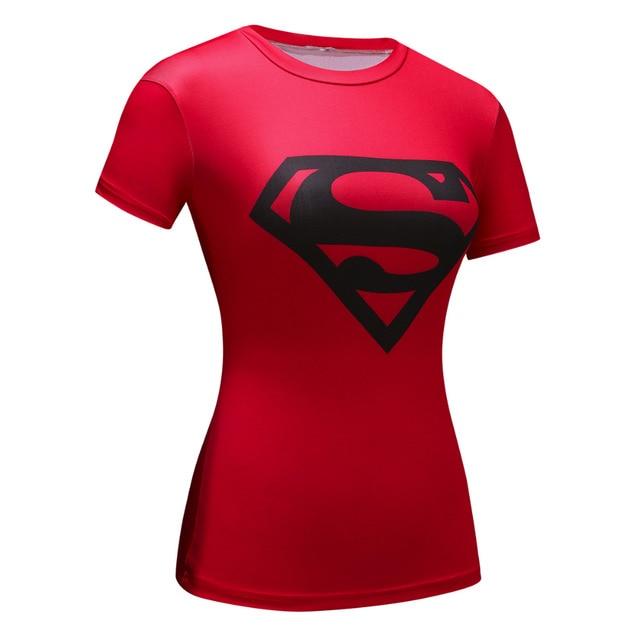 Women Superman Tops T Shirts Superhero Fitness Tights Under Tees
