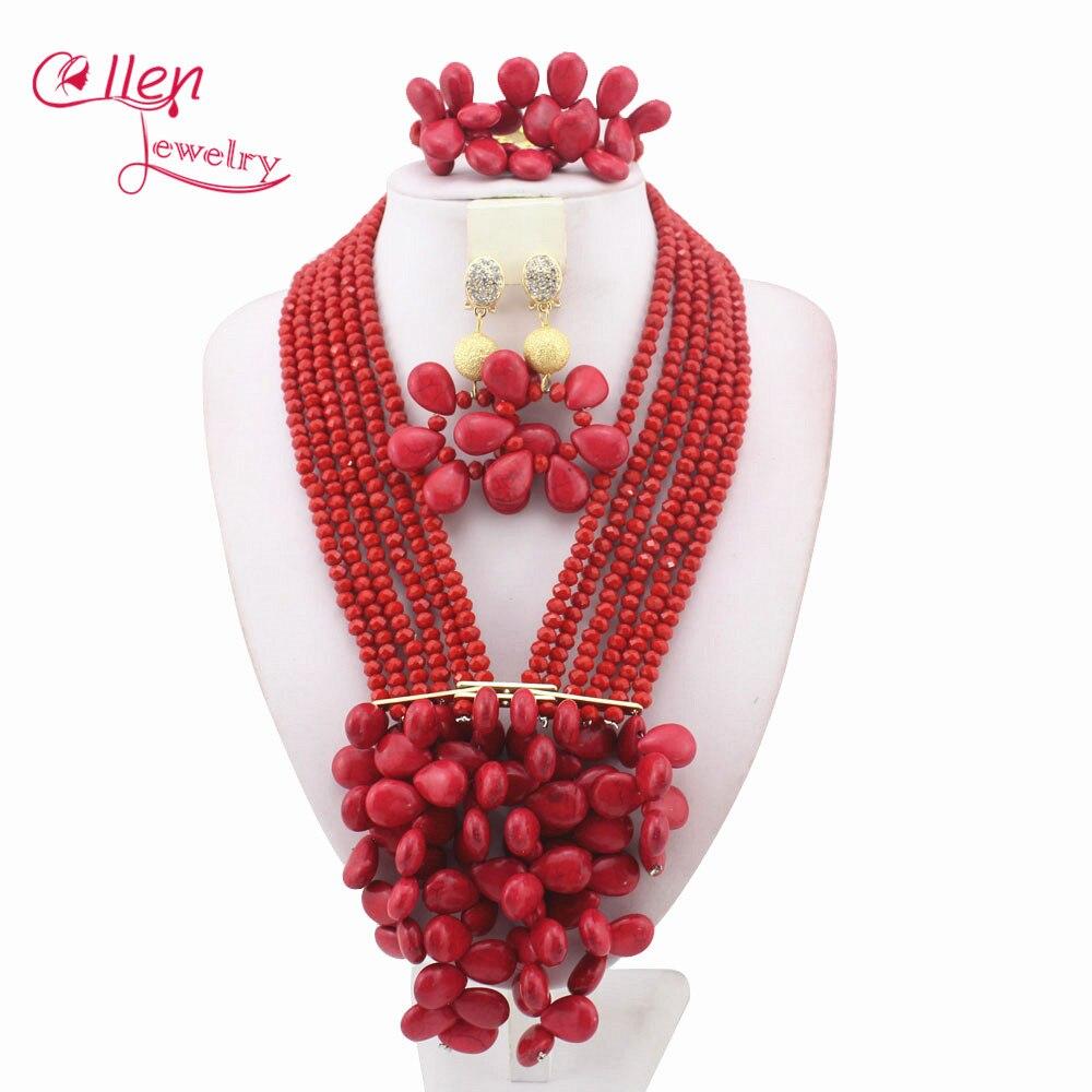 Rose Costume African Beads Jewelry Set Nigerian wedding bridal dubai Crystal  Beads women statement Necklace Set W10877 4d5bb564a510