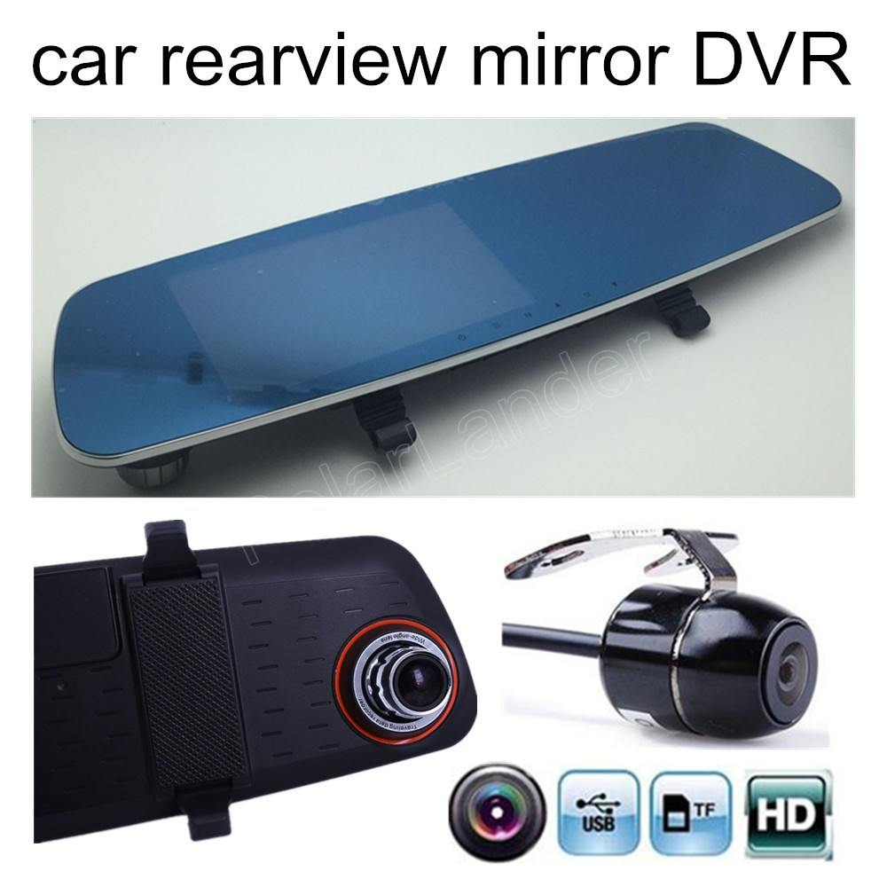 Car DVR Rearview-Mirror-Camera Camcorder Dual-Lens LCD 5inch Auto-Vihicle Include