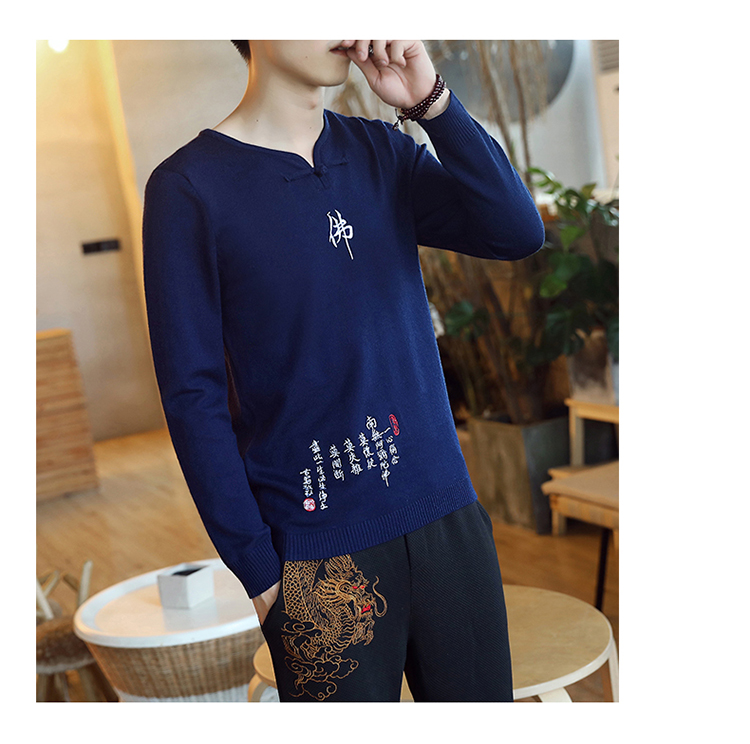 Chinese style Buddha embroidery Pull Homme Pullover Men spring autumn Casual sweater knit leisure Jersey Hombre Cotton v-neck 85