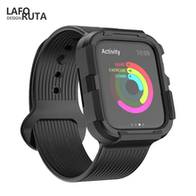Laforuta Case for Apple Watch Series 4 Sport Soft Liquid Silicone Replacement iWatch 44mm 40mm Bands with Protective Cover C