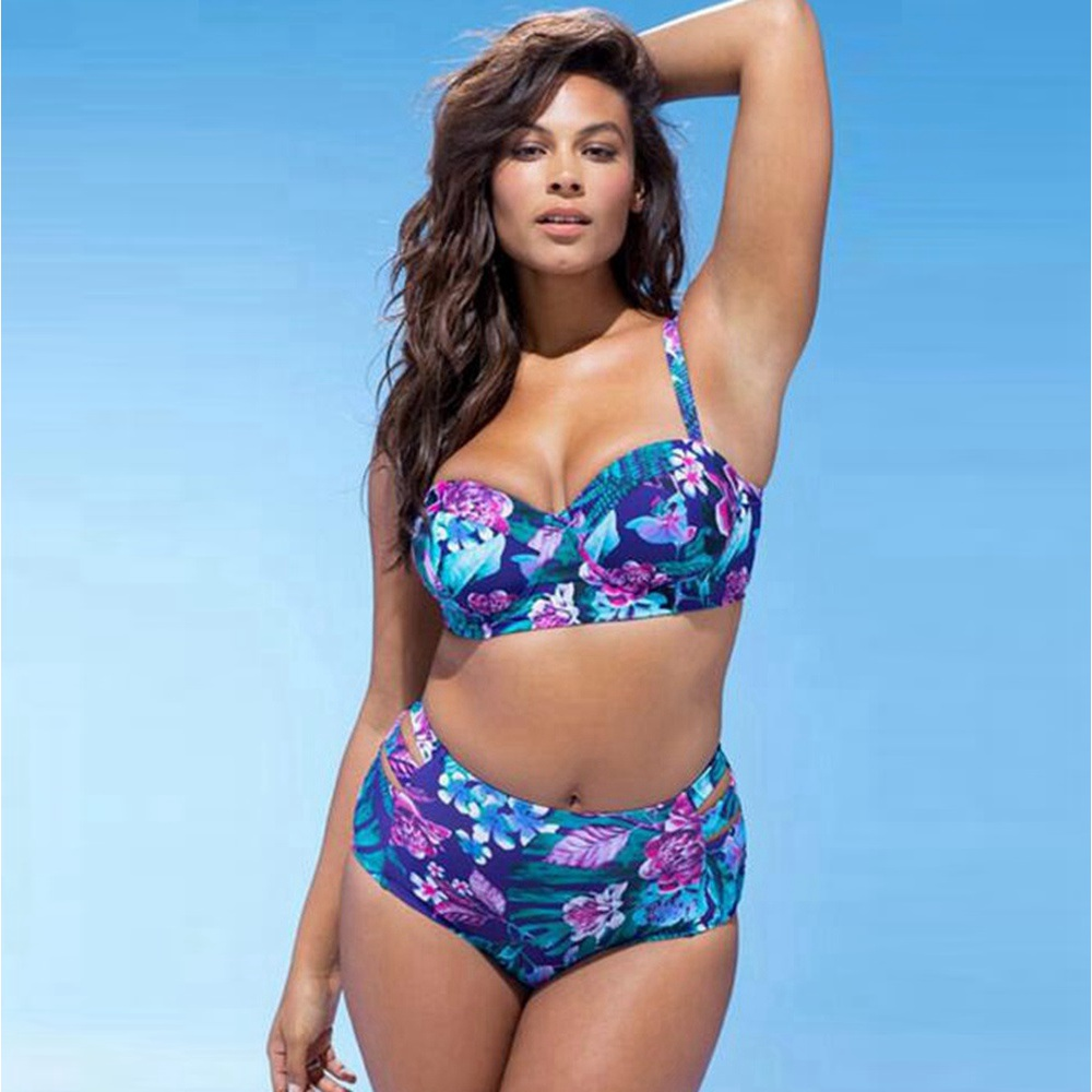 Plus size bikini set floral push up bikini plus size high waisted swimsuit women floral swimwear large sizes halter swim suit серьги page 8