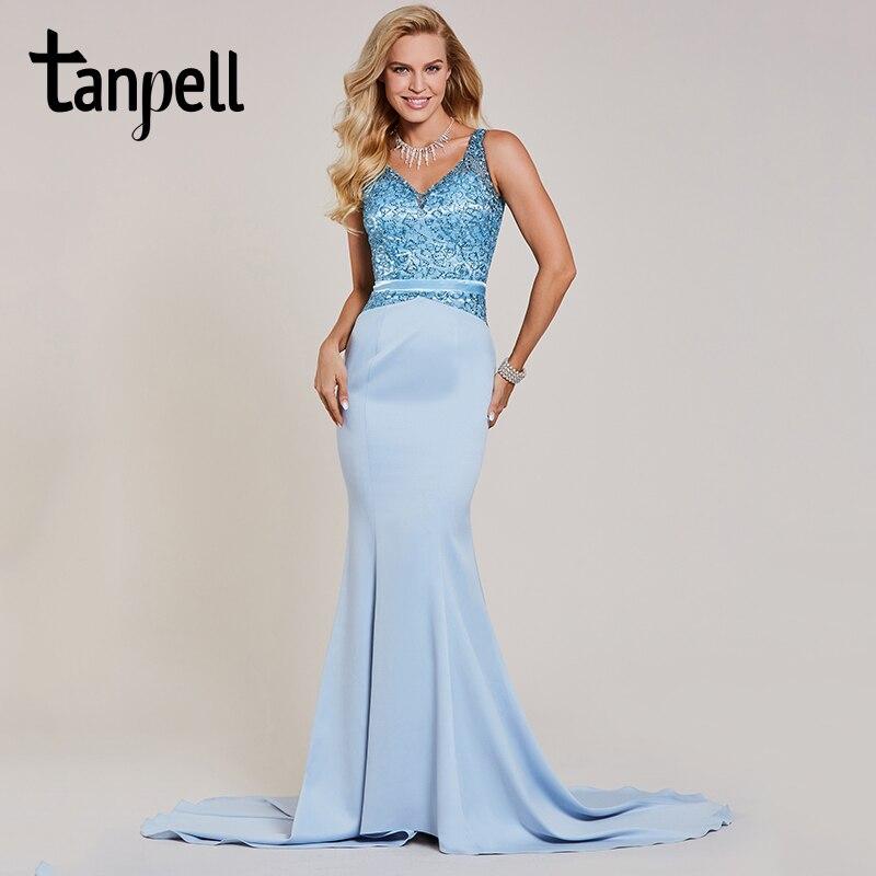 Tanpell beaded mermaid evening dress blue v neck sleeveless floor length gown women sequins sweep train