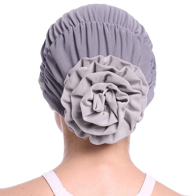 Image 4 - Fashion Womens Elegant Stretchy Flower Block Color Muslim Turban  Chemo Cancer Cap Beanie Hat Hot New Design 10 Colors 2018Womens  Skullies