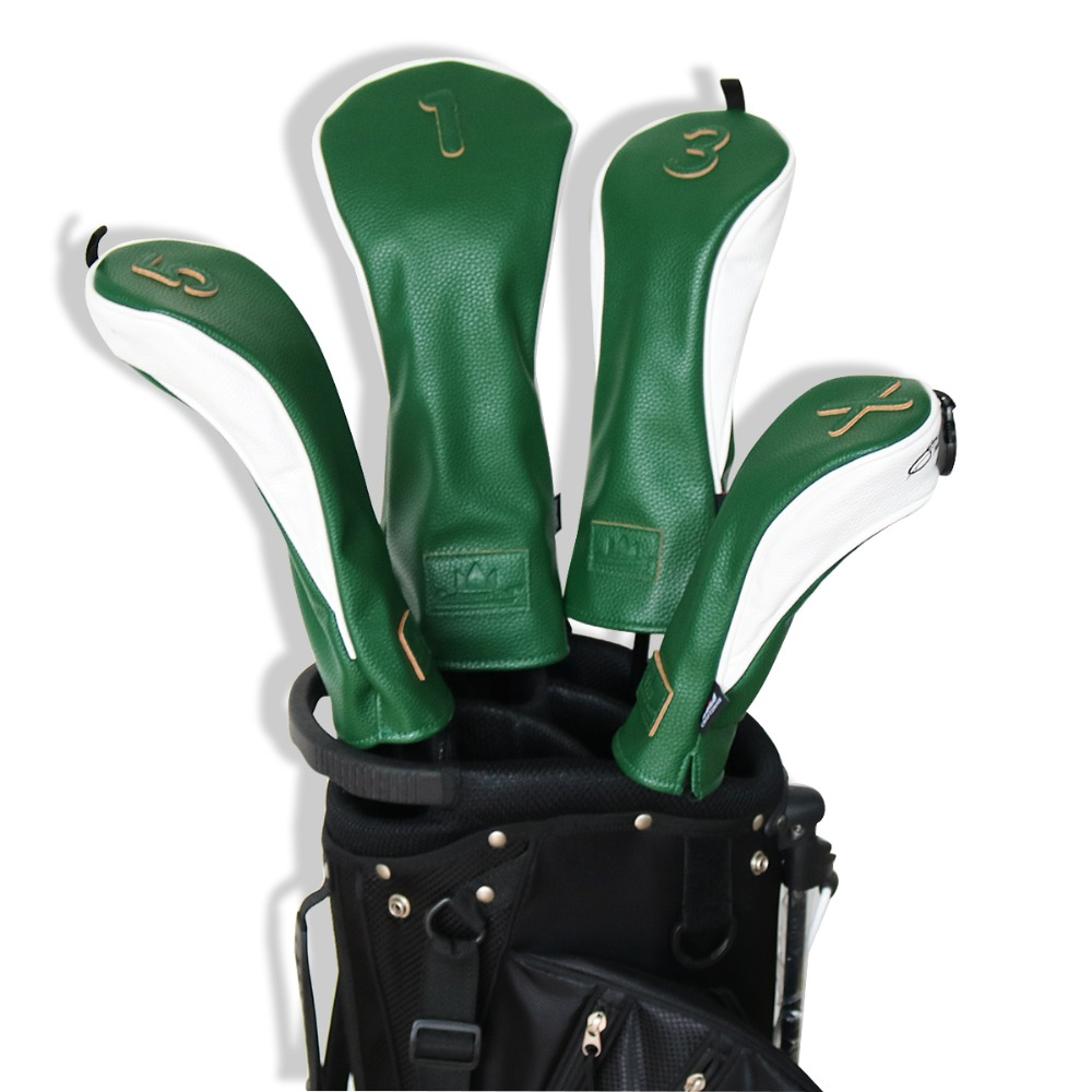 Craftsman Green/White Premiun 3D Model Golf Wood Head Covers Headcover Driver Fairwary Wood UT Utility Rescue Headcovers