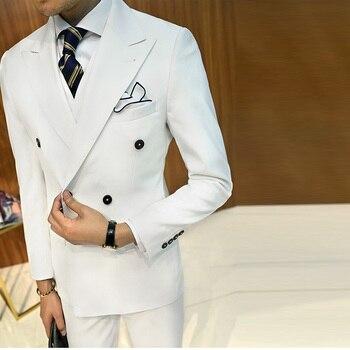 Customized new fashion men's suit three-piece suit (jacket + pants + vest) men's double-breasted suit wedding gown dress