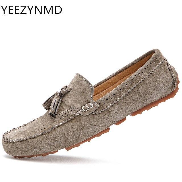 4baa7ad4e7 Homens Sapatos Casuais Moda Masculina Sapatos de Camurça de Couro Homens  Preguiçosos lazer Deslizamento Em Sapatos
