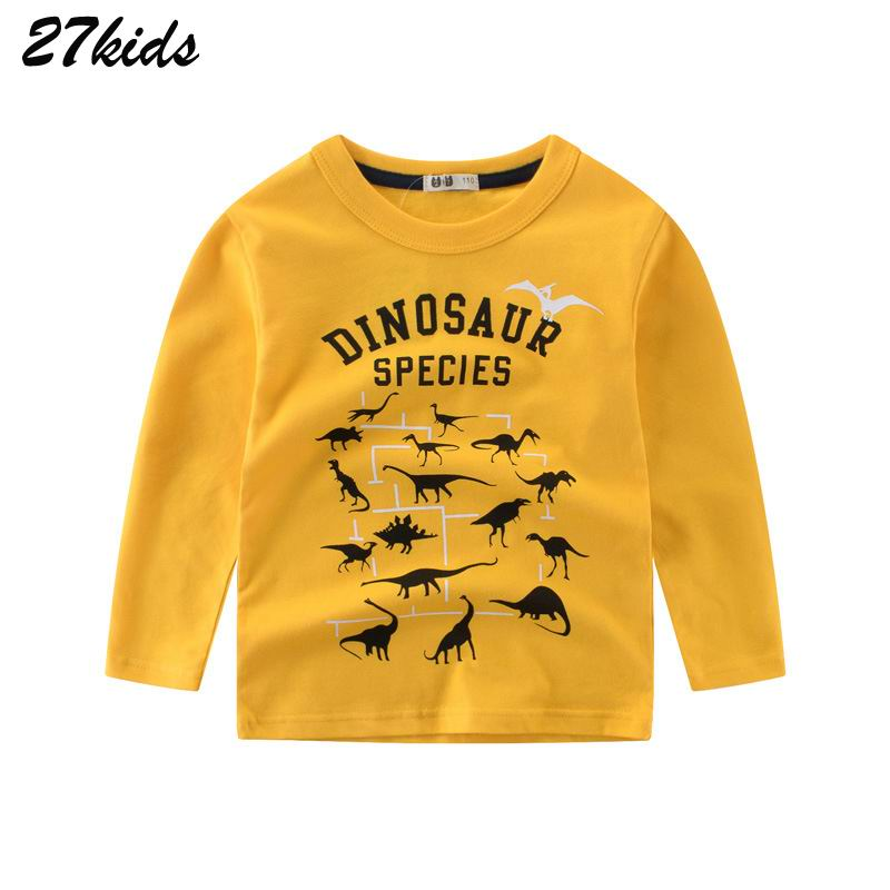 27Kids 2-9Year Cartoon Dinosaur Boys Long Sleeve Tshirt Summer Boy T Shirts for Children Kids Full Length Clothing Cotton Top женская футболка other 2015 3d loose batwing harajuku tshirt t a50
