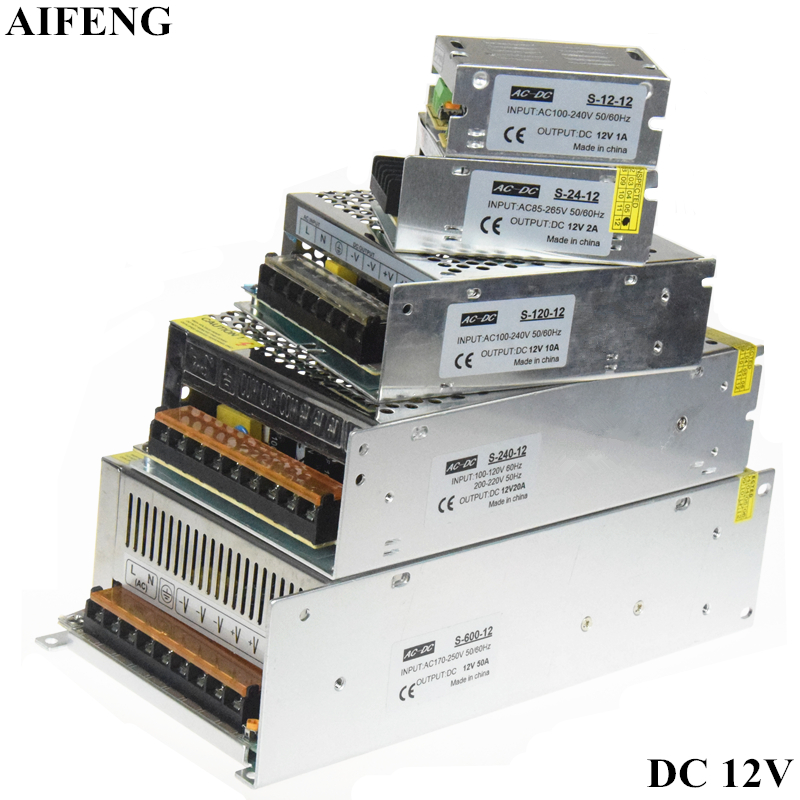 AIFENG AC 110V <font><b>220V</b></font> To DC 12V Switching Power Supply Adapter 1A 2A 3A 5A 10A <font><b>20A</b></font> 30A 50A Led Strip Light Driver Power Supply 12V image