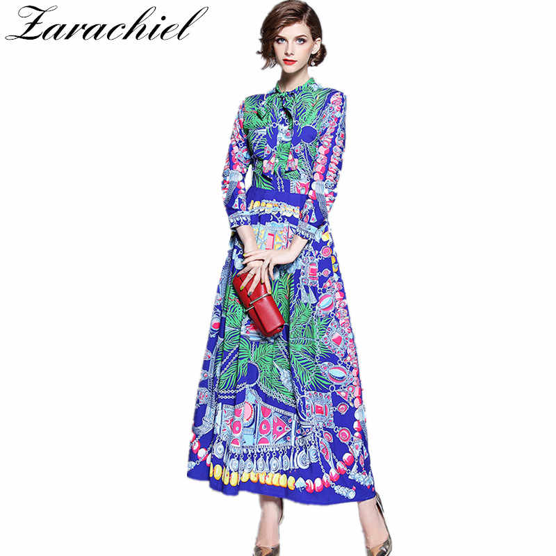 41ccdad8ef74 Runway Designer Dress 2019 Autumn Vintage Print Long Dress Women Lace-up  Bowknot Dress Long