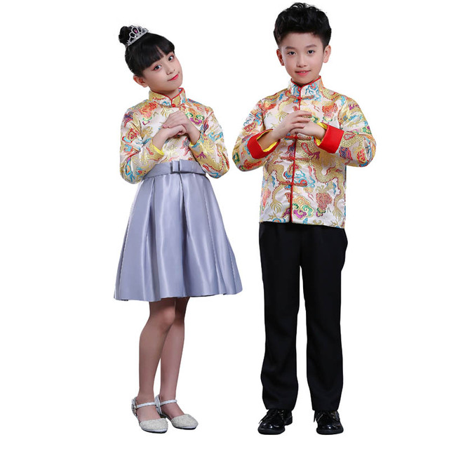 c52bc055018 Kid China dress of the Tang Dynasty Chinese traditional garments costume  pants for children boy girl clothing blue red white