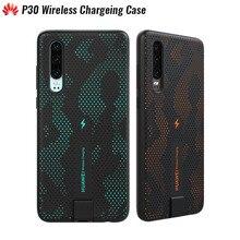 Original huawei p30 caso de carregamento sem fio 10 w certificação qi embutido material magnético permeável design oco elegante confortável
