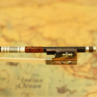VINGOBOW Silver Braided Carbon Fiber Violin Bow Pro. Level Ox Horn Frog New 4/4 SizeModel 200V Unbleached Horse Hair Straight