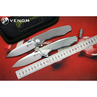 KEVIN JOHN VENOM 4 WING S35VN blade Titanium overall handle Flipper folding knife Outdoor camping hunting pocke knives EDC tools