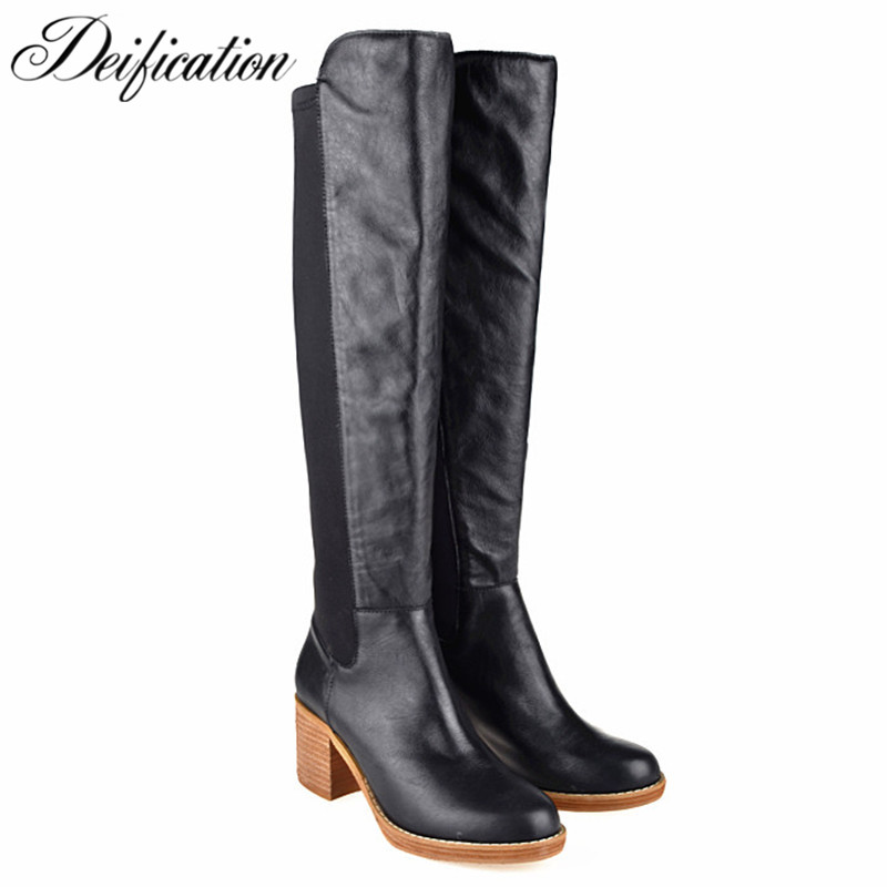 Fashion Brand Winter Shoes Women Black Women's Fashion Booties Vintage Cowboy Boots Botas Mujer Classic Med Heel Knee High Boots