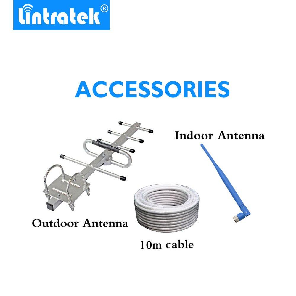 Lintratek pantalla LCD Mini repetidor GSM 900MHz para móvil teléfono GSM 900 amplificador de señal + Antena Yagi con 10m de Cable - 5
