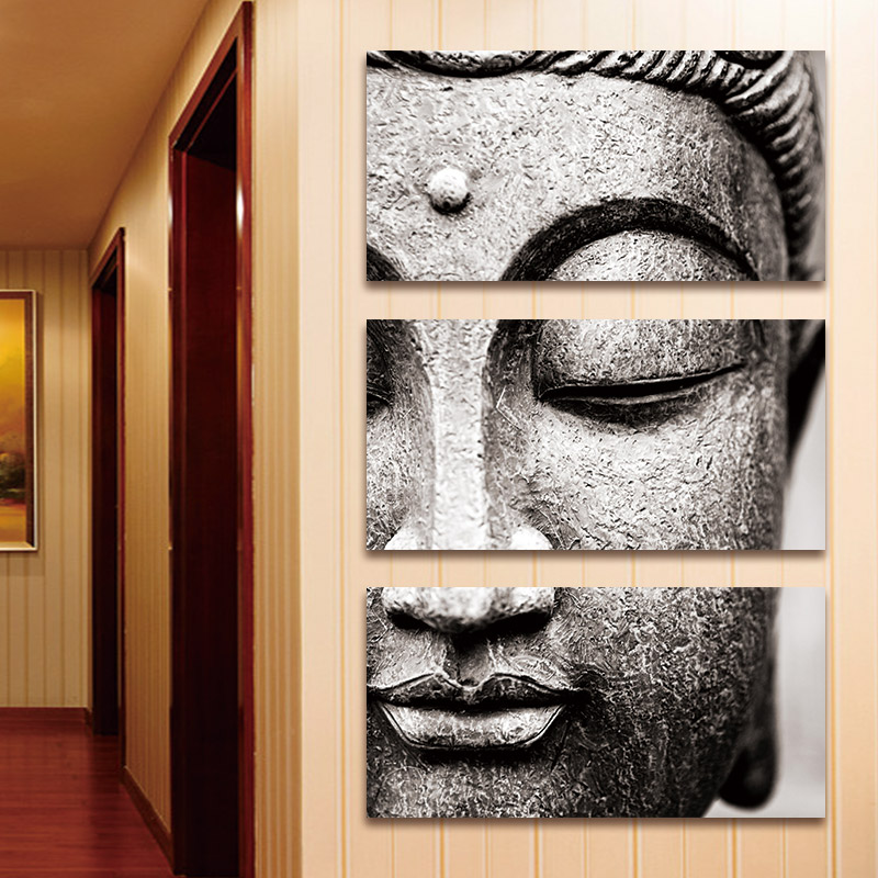Large Buddha Panel: BANMU Frameless Gray 3 Panel Modern Large Oil Style Buddha