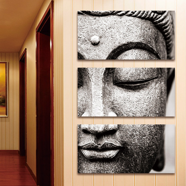 BANMU Frameless Gray 3 Panel Modern Large Oil Style Buddha Wall Art Print  On Canvas Home