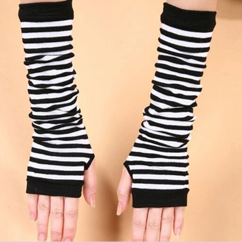 Warm Women Knit Sleeves Winter Fingerless Gloves Striped Gloves Long Arm Warmers XL34