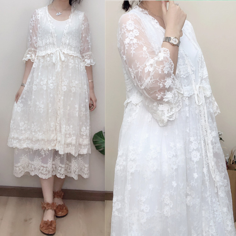 Sweet Mori Girl Loose Lace Embroidery Flare Sleeve Sunscreen Shirt Sexy Women Air Conditioning Shirt Outerwear Female Lace Shirt
